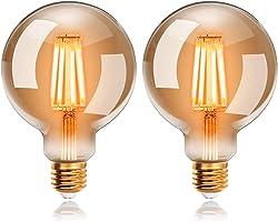 Ampoules LED 6W Edison Vintage G95, Blanc Chaud 2200K E27, Equivalent à Ampoule Incandescente 48W, EXTRASTAR Ampoule Rétro à