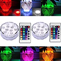 H.W.T 2X Waterproof Submersible Colour Changing LED Lights Battery Powered Remote Control for Vase, Christmas Decorations, Wedding, Party Light