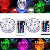 Unterwasser Licht mit Fernbedienung, RGB Multi Farbwechsel Wasserdichte LED Leuchten Teichbeleuchtung für Vase Base, Aquarium Weihnachten Dekoration (2 Stück)