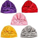 Danolt 5 PCS Sombrero de algodón para bebé-niñas, Suave Cute Bow Turbante Headwrap para recién Nacidos niños pequeños Niñas 0