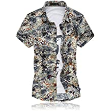 MOGU Camisa de Manga Corta con Estampado de Fancy de Nueva Playa Hawaiana para Hombre uiPmQC8r