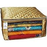 Kuber Industries Satin Fabric Saree Cover, 15 Sarees, Gold (KI8063)