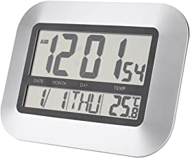 Temperature Thermometer Multi-Functional LCD Digital Wall Tabletop Clock Alarm Snooze Indoor Outdoor