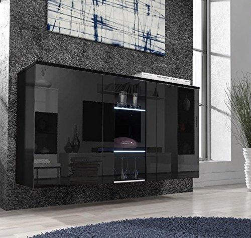 Letti e Mobili – Credenza Salve nero con LED
