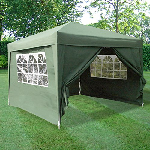ESC Ltd 3x3mtr Pop Up Waterproof Gazebo Green with 2 WindBars and 4 Leg Weight Bags (8 Colours Available)