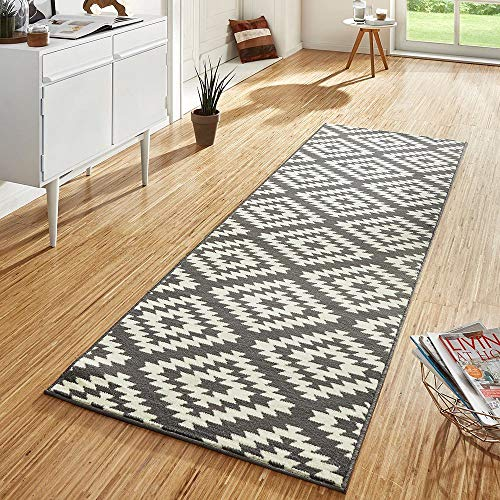 Design Velours Teppichläufer Brücke Nordic grau creme, Größe:80x300