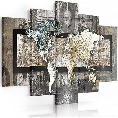 Feeby Frames, Cuadro en lienzo - 5 partes - Cuadro impresión, Cuadro decoración, Canvas (MAPA DEL MUNDO, VINTAGE) 100x150 cm, Tipo A