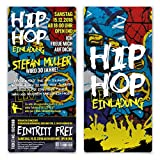 10 x Geburtstag Einladungskarten Eintrittskarte Ticket - 90er Jahre Old School Hip Hop