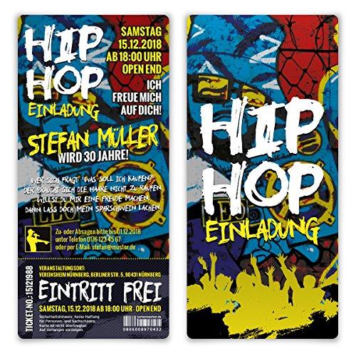 20 x Geburtstag Einladungskarten Eintrittskarte Ticket - 90er Jahre Old School Hip Hop