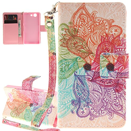 ISAKEN Accessories Cover Per Sony Xperia Z3 Mini PU Pelle Portafoglio Custodia, Elegante borsa Drawing Pattern Design in Sintetica Ecopelle Libro Bookstyle Wallet Flip Portafoglio Case Cover Anti Slip colorate fiori rainbow