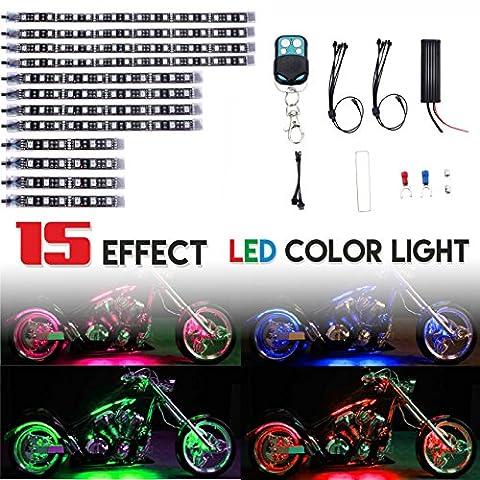 Ditrio 12pcs Motorcycle LED Light Kit bandes multicolore Accent Glow Neon lumières lampe flexible avec télécommande pour Harley Davidson Honda Kawasaki Suzuki Ducati Peut AM Polaris KTM BMW