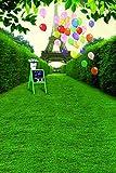 A.Monamour Hierba Verde Camino De La Tierra Planta De La Pared Torre Eiffel Globo Estudio De La Boda Fotografía Telones De Fondo