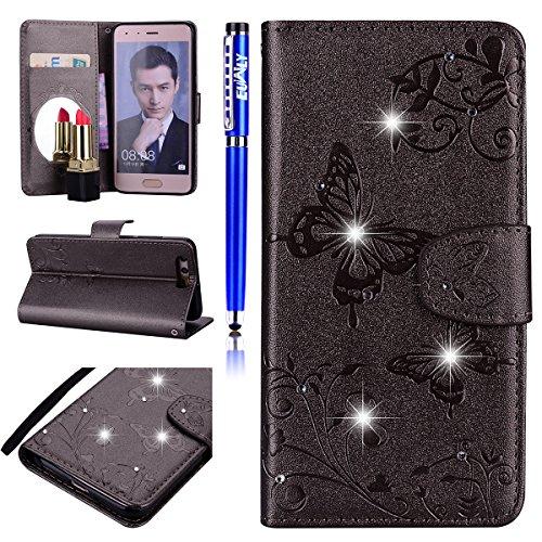 EUWLY Kompatibel mit Huawei Honor 9 Handyhülle Luxus 3D Glitzer Glänzend Blumen Schmetterling Strass Bookstyle Ledertasche Klappbar Handy Tasche Leder Flipcase,Schwarz