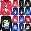 Kids Girls Long Sleeves Novelty Christmas Penguin Minion Olaf Jersey T Shirt Top