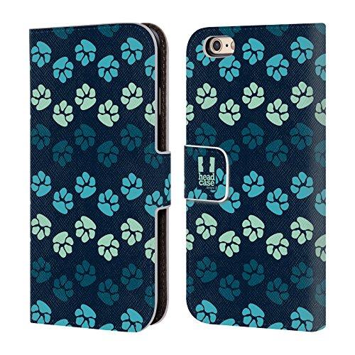 Head Case Designs Verschiedene Pfoten Brieftasche Handyhülle aus Leder für Apple iPhone 5 / 5s / SE Blautöne