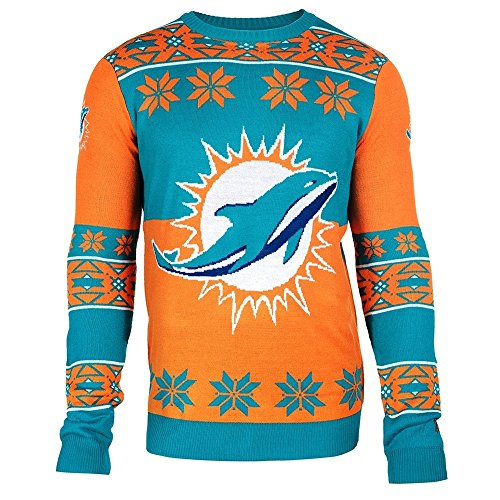 Miami Dolphins Big Logo Crewneck NFL Ugly Sweater S (Dolphin Crewneck Sweatshirt)