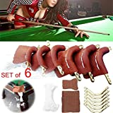 Tradico® 6Pcs Leather Pool Snooker Billiards Table Pockets Leather Sets Protect Ball