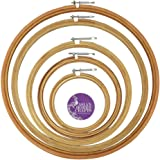 """Asian Hobby Crafts Wooden Embroidery Hoop Ring Frame with Iron Key : Set of 5pcs : Size 6, 8, 10, 12, 14"""" Inches"""