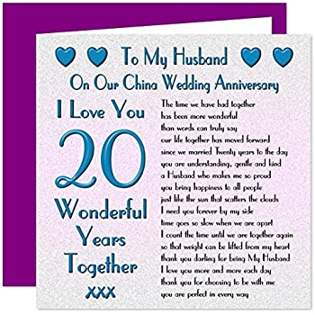 My husband 20th wedding anniversary card on our china anniversary my husband 20th wedding anniversary card on our china anniversary 20 years sentimental m4hsunfo