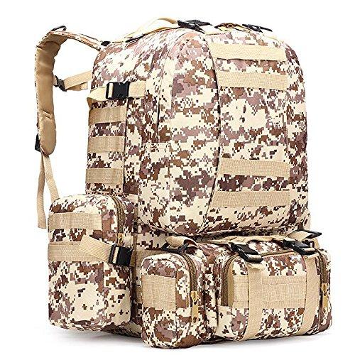 Groß, wasserdicht Military Army Patrol MOLLE Assault Pack Tactical Rucksack Tasche für Wandern Camping, 60l Desert Digital