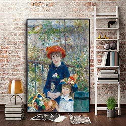 zzlfn3lv Zwei Schwestern auf der Terrasse Impressionistische Malerei Renoir Poster und Druck auf Leinwand Kunst Gicel Wandkunst Wohnzimmer - Kein Rahmen