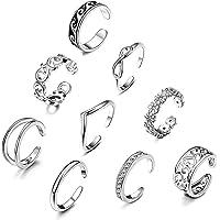 CASSIECA 9PCS Open Toe Ring per Donne Ragazze Fiore Margherita Onda Kink Knuckle Boho Anelli Regolabile Piede Gioielli…