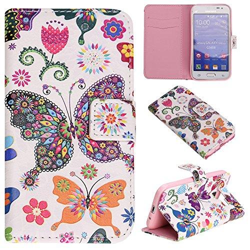 Étui en cuir pour iPhone 5/5S se, w-pigcase coloré Étui en cuir PU avec exquis design raffiné et confortable feelling pour Apple iPhone 5/5S/5C/SE, Wind chime, Samsung Galaxy J1 Ace Papillon