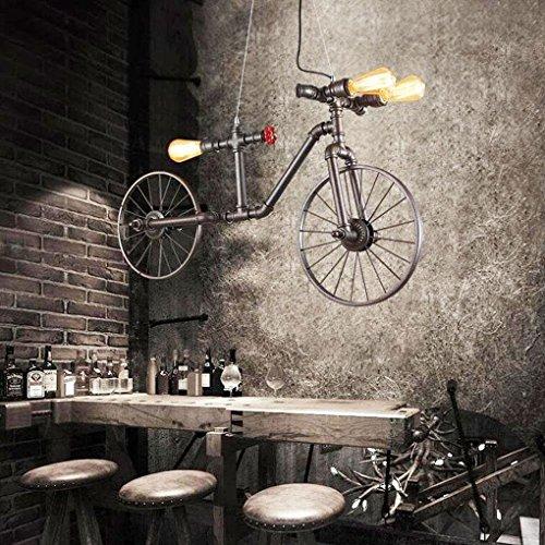 OOFAY LIGHT® Industrial Style Pendelleuchte Einfache Retro Hängelampe Water Pipes Fahrrad Form Metall Kronleuchter für Schlafzimmer Esszimmer Küche Resturant Cafe Bar 3×E27 Ohnen Glühbirne (Finish Gebürstetem Bar Stahl)