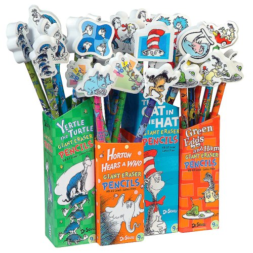 Dr Seuss Pencils with Giant Eraser Toppers, 36 Pieces (66865) by Raymond Geddes