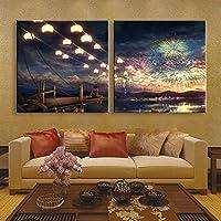CinCin Solido legno LED fibra pittura decorazione murale dipinto senza cornice pittura camera da letto soggiorno ristorante Camera impermeabile Canvas(Fireworks) ,