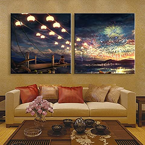 X&L Solido legno LED fibra pittura decorazione murale dipinto senza cornice pittura camera da letto soggiorno ristorante Camera impermeabile Canvas(Fireworks) ,