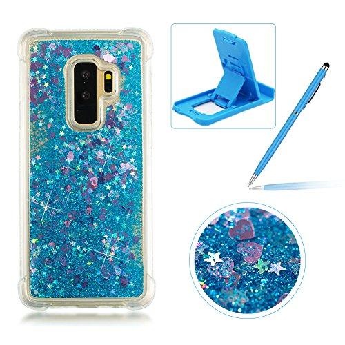 Luxus 3D Flüssig Bling Glitzer Liquid Floating Handyhülle für Samsung Galaxy S9 Plus, Herzzer Transparente Kristall Sparkly Silikon Weich TPU Gel Bumper Schutz Case Etui Anti-Kratzer Rutsch Skin Flexibel Silicone - Eine Fällen Richtung Samsung