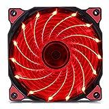 GEZICHTA 2LED Silent Lüfter, 80mm Kühlung PC und Licht bis Computer Fall, 15LED mit Coolen Look Heizkörper Ultra Leise High Airflow Gehäuselüfter, Red Light