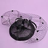 mjl Chapeau - Femmes Automne et Hiver Coiffure Chapeau de Mariée Chapeaux Élégant Grand Maille Linge Cap Fleur Accessoires de Cheveux,Noir,16 * 8cm