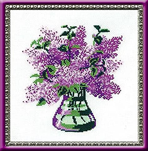 Riolis RI-603 Bouquet de Lilas Kit de Broderie au Point de Croix Multicolore 20 x 20 cm
