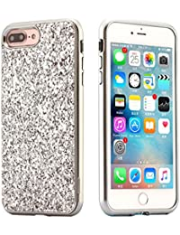 EUWLY iPhone 7 Plus Case Hard Plastic,Hard Plastic Phone Case for iPhone 8 Plus,Bling Shiny Sparkle Glitter Plastic Hard Case Protective Shell Case Cover for iPhone 7 Plus Scratch Resistant Slim Case Luxury Glitter Shock Resistant Anti-dust Thin Phone Case Cover with Electroplating Border for Apple iPhone 7 Plus / 8 Plus + 1 x Blue Stylus Pen - Sequins,Silver