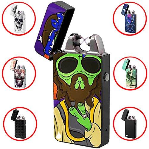 USB Feuerzeug -The Flame X- Elektronisches Feuerzeug Zigarettenanzünder Elektrische Feuerzeuge Aufladbar Double Lichtbogen (Alien)