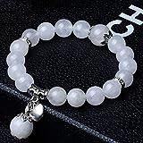 MYJ Braccialetto di cristallo naturale dei monili dell'agata del braccialetto della giada naturale del cerchio singolo di 10mm di modo dei monili,bianca