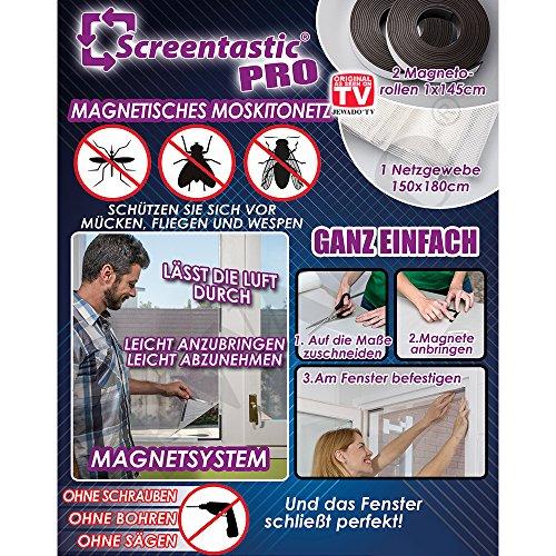 Screentastic® Pro Magnetisches Moskitonetz für Fenster (Insektenschutz, Fliegengitter Mückengitter) Netzgewebe Größe: 150 x 180 - Original aus TV-Werbung