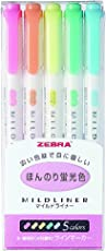 Zebra Highlighter Mildliner, 5 Color Set (WKT7-5C)