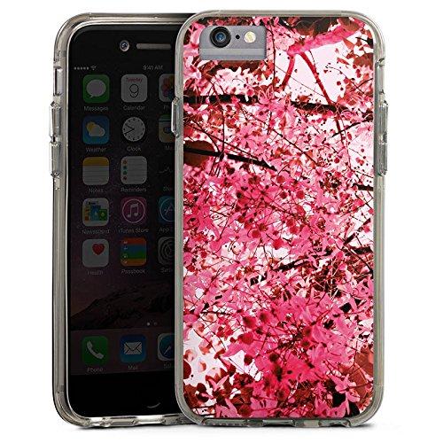 Apple iPhone 8 Bumper Hülle Bumper Case Glitzer Hülle Pink Spring Blaetter Bumper Case transparent grau