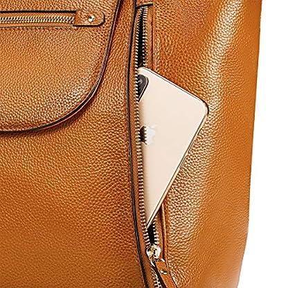Kattee – Bolso de mano de piel auténtica para mujer, gran capacidad, para tablet de 11 pulgadas