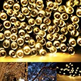 Guirlandes Lumineuses Solaire, Eonfine Guirlande Solaire 200 LED Étanche avec Panneau Solaire 72pieds pour Jardin, Noël, Fêtes, Mariages Blanc Chaud