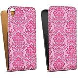 HTC Desire 820 Downflip Bag Tasche white - Pretty in pink