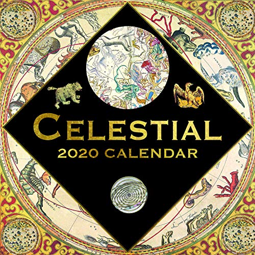 2020 Calendario de pared - Calendario Celestial, 12 x 12 pulgadas, vista mensual, 16 meses, incluye 180 pegatinas de recordatorio