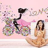 Wallpark Romantisch Rosa Blume Schmetterling Fee Mädchen Reiten eins Blume Fahrrad Abnehmbare Wandsticker Wandtattoo, Kinder Kids Baby Hause Zimmer Kinderzimmer DIY Dekorativ Kunst Wandaufkleber