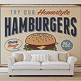 Retro Plakat Hamburger - Wallsticker Warehouse - Fototapete - Tapete - Fotomural - Mural Wandbild - (3185WM) - XL - 208cm x 146cm - VLIES (EasyInstall) - 2 Pieces
