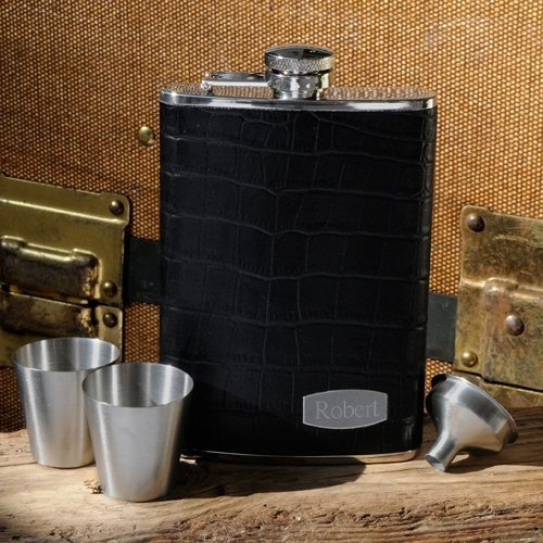 Executive Leather Flask Set by Silverfox Promotions