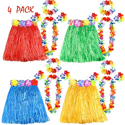 Rock Set Kostüm - FEPITO 4 Set 20 Stück Hawaiian Gras Hula Röcke mit Blume Leis Halskette Stirnband Armbänder Luau Röcke Set Hawaii Kostüm für Kinder Mädchen Tropical Luau Birthday Party Favors Taschen Supplies