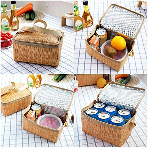 Camping CELINEZL Outdoor Camping Picknicktasche Wicker Picknickkorb Fall Thermische Mittagessen Aufbewahrungsbox (Khaki) (Farbe : Khaki) -